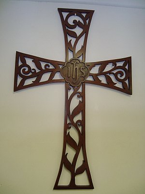 Carved Wooden Cross - IHS